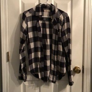 White and black Hollister flannel
